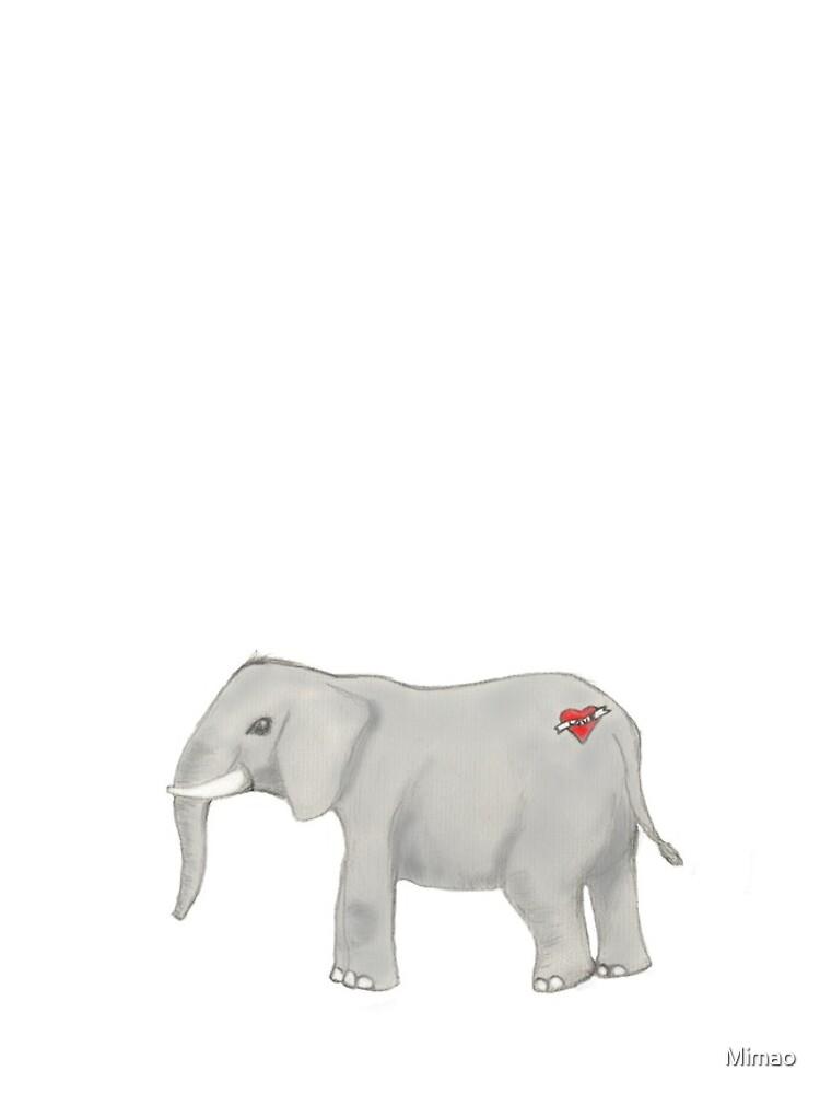 Elefant mit einer Tätowierung von Mimao
