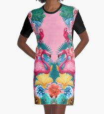 Flamingo and Tropical garden Graphic T-Shirt Dress