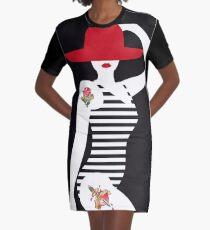 Fashion Retro Tattoo Woman in Swimsuit Graphic T-Shirt Dress