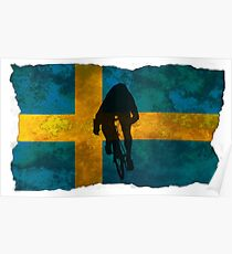 Cycling Sprinter on Swedish Flag Poster