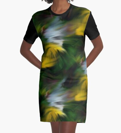 Abstract Yellow Green And White Colors Graphic T-Shirt Dress