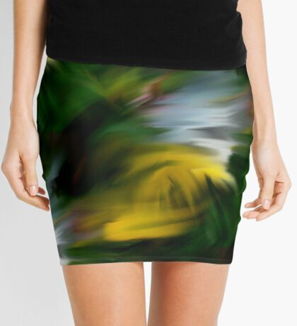 Abstract Yellow Green And White Colors Mini Skirt
