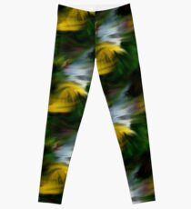 Abstract Yellow Green And White Colors Leggings