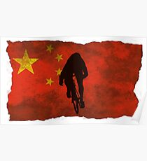 Cycling Sprinter on Chinese Flag Poster