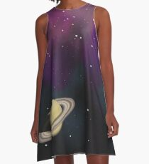 Saturn - Alien Ring Planet and Galaxy A-Line Dress