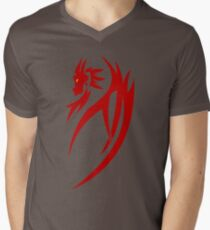 Red dragon tribal tattoo Mens V-Neck T-Shirt