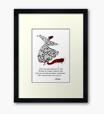 Rumi Quotes Calligraphy Vertical Framed Print