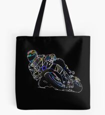 Glowing Motorcycle Rider Circle Racing Sketch Tote Bag