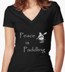 Peace is Paddling Solo - white Women's Fitted V-Neck T-Shirt