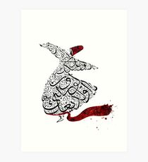Rumi Calligraphy Red Art Print