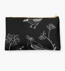 Birds and Daisies (drawing, white on black) Studio Pouch