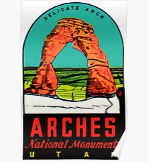 Arches National Monument Utah Moab Vintage Travel Decal Poster