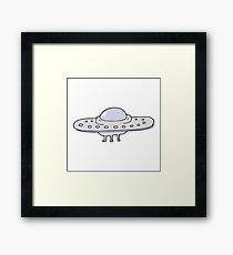 cartoon flying saucer Framed Print