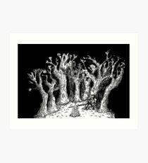 Knight at campfire in dark forest  Art Print