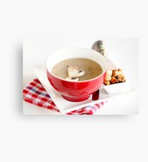Cream of Mushroom Soup in red bowl Canvas Print