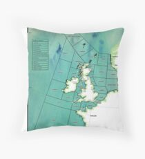 UK Shipping Forecast Map Throw Pillow