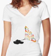 Panzer mit Schmetterlingen Women's Fitted V-Neck T-Shirt