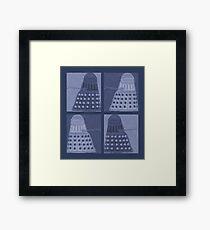 Daleks in negatives - blue Framed Print
