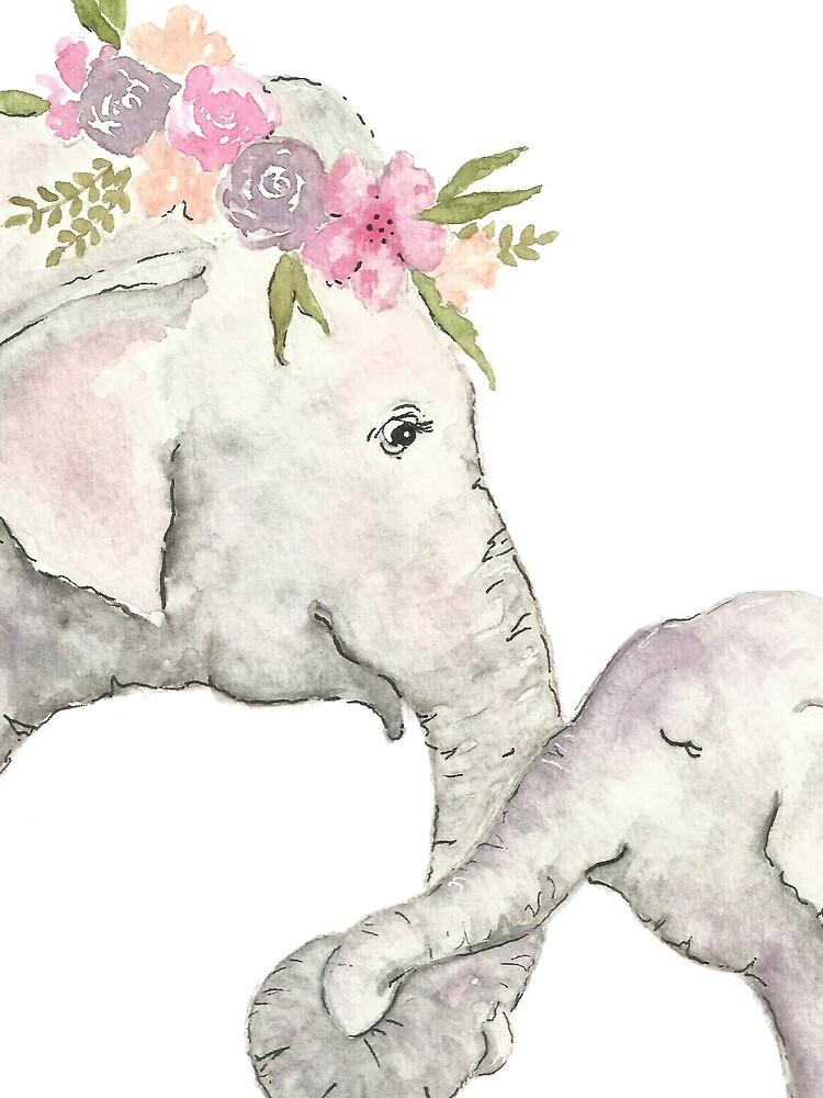 Elefante madre y bebé acuarela de christierenfro