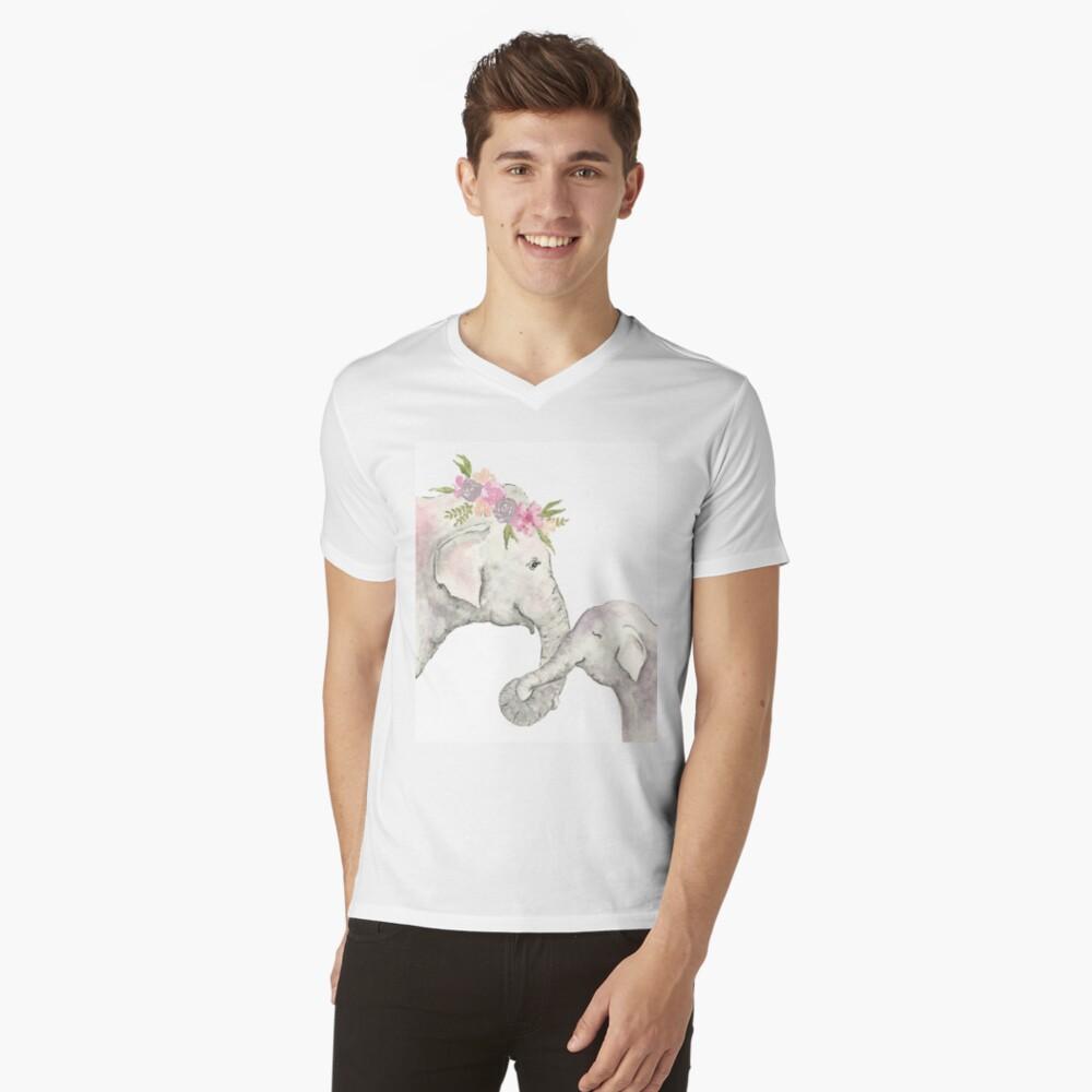 Elefante madre y bebé acuarela Camiseta de cuello en V