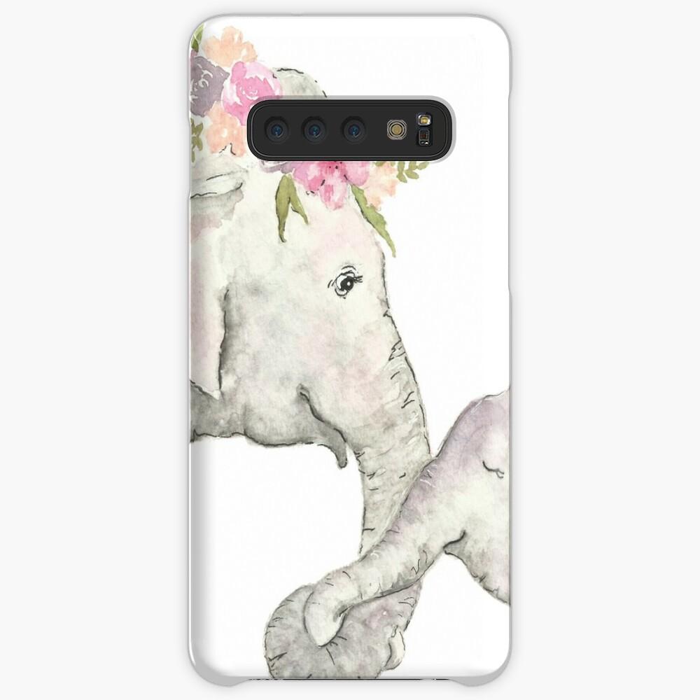 Elefante madre y bebé acuarela Funda y vinilo para Samsung Galaxy
