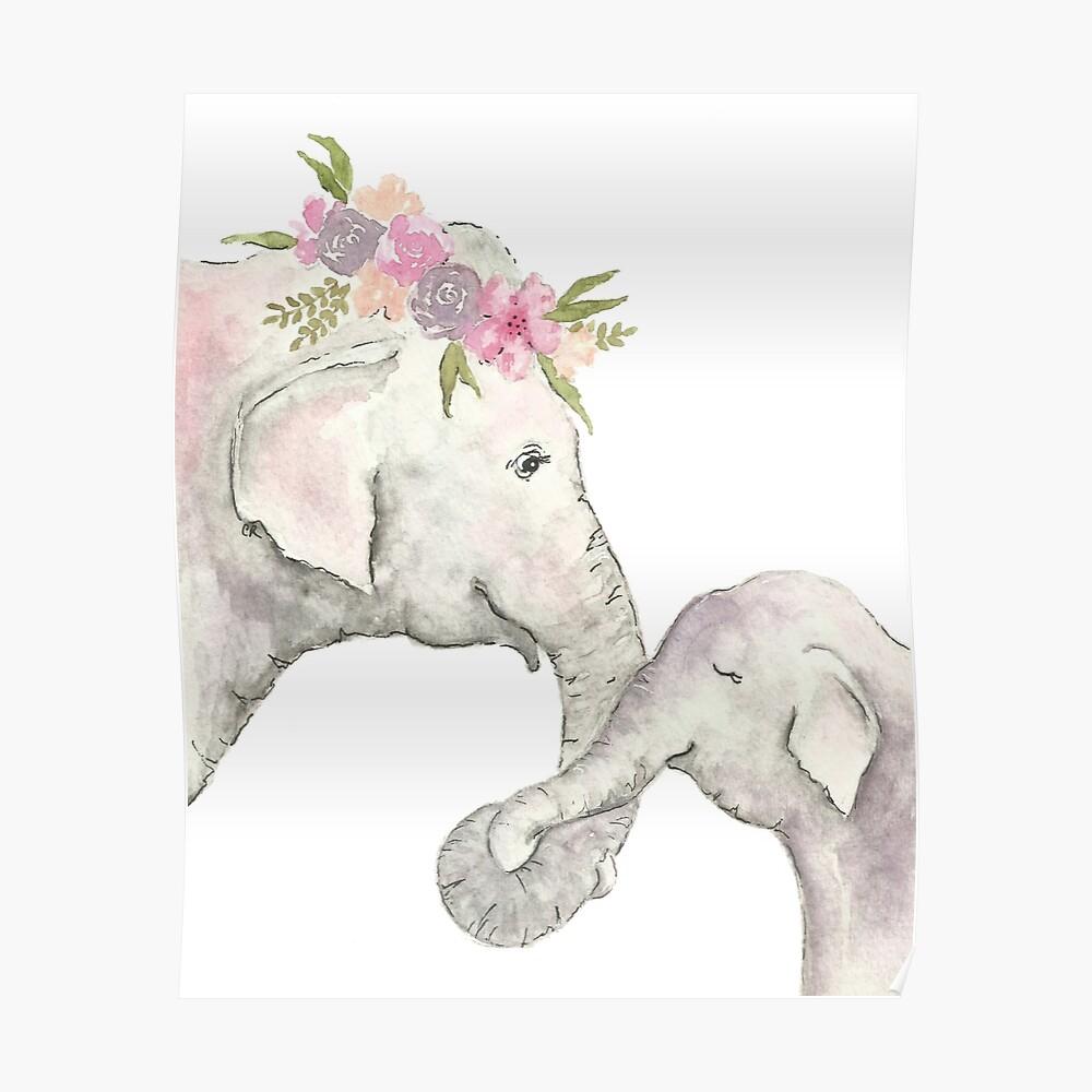 Elefante madre y bebé acuarela Póster