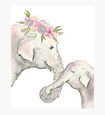 Elephant mother and baby watercolor Photographic Print