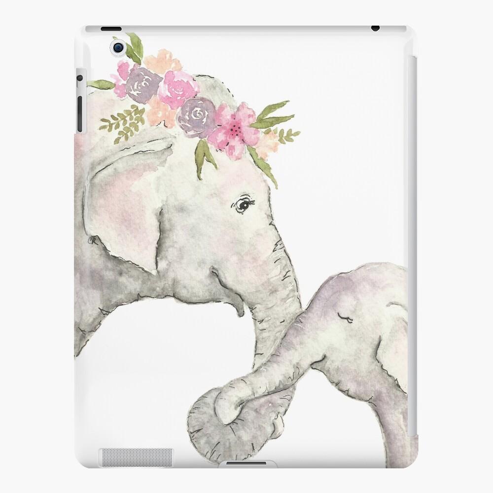 Elefante madre y bebé acuarela Funda y vinilo para iPad