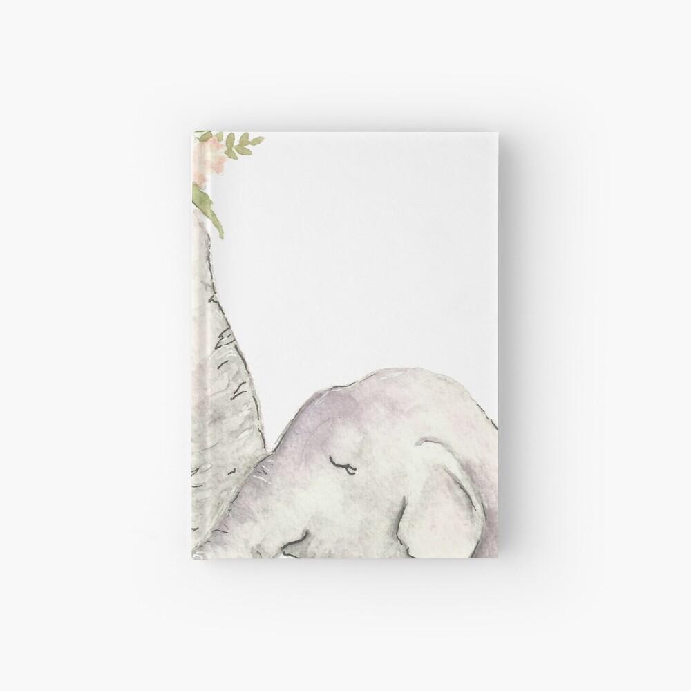 Elefante madre y bebé acuarela Cuaderno de tapa dura