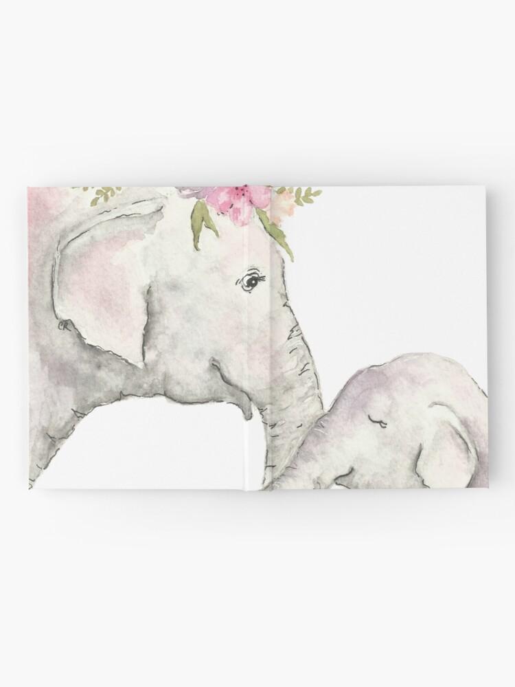 Vista alternativa de Cuaderno de tapa dura Elefante madre y bebé acuarela