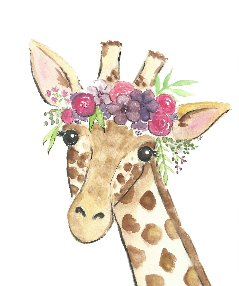 Quot Giraffe Flower Crown Watercolor Quot By Christierenfro
