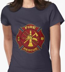 Firefighter Diamond Plate Design Womens Fitted T-Shirt