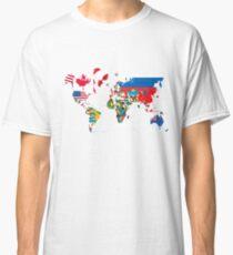 Traveler World Map Flags  Classic T-Shirt