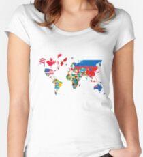Traveler World Map Flags  Women's Fitted Scoop T-Shirt