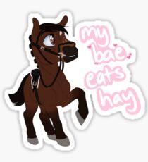 Bae eats hay - Brown Sticker
