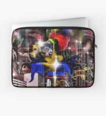 """Bird with gas mask attacking buildings"" Laptop Sleeve"