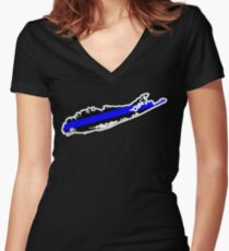 Long Island Thin Blue Line Women's Fitted V-Neck T-Shirt