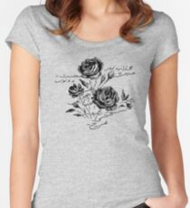 Roses and Love Urdu Poem Calligraphy Women's Fitted Scoop T-Shirt