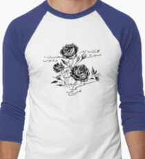 Roses and Love Urdu Poem Calligraphy Baseball ¾ Sleeve T-Shirt