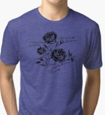 Roses and Love Urdu Poem Calligraphy Tri-blend T-Shirt