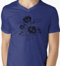 Roses and Love Urdu Poem Calligraphy V-Neck T-Shirt