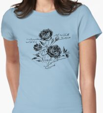 Roses and Love Urdu Poem Calligraphy Women's Fitted T-Shirt