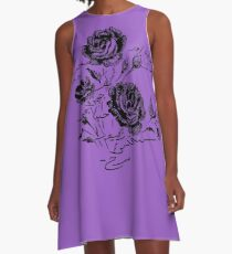 Roses and Love Urdu Poem Calligraphy A-Line Dress