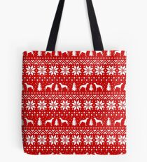 Greyhound Silhouettes Christmas Sweater Pattern Tote Bag