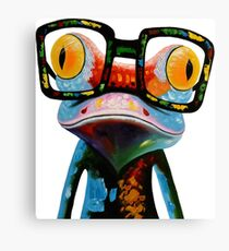 Hipster Frog Nerd Glasses Canvas Print