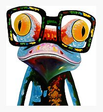 Hipster Frog Nerd Glasses Photographic Print