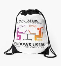 Mac users swear by their computers Drawstring Bag