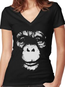 Everything's More Fun With Monkeys Women's Fitted V-Neck T-Shirt