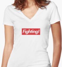 Fighting- Red Design Women's Fitted V-Neck T-Shirt
