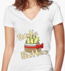Exotic Butters (Five Nights at Freddy's SL) Women's Fitted V-Neck T-Shirt